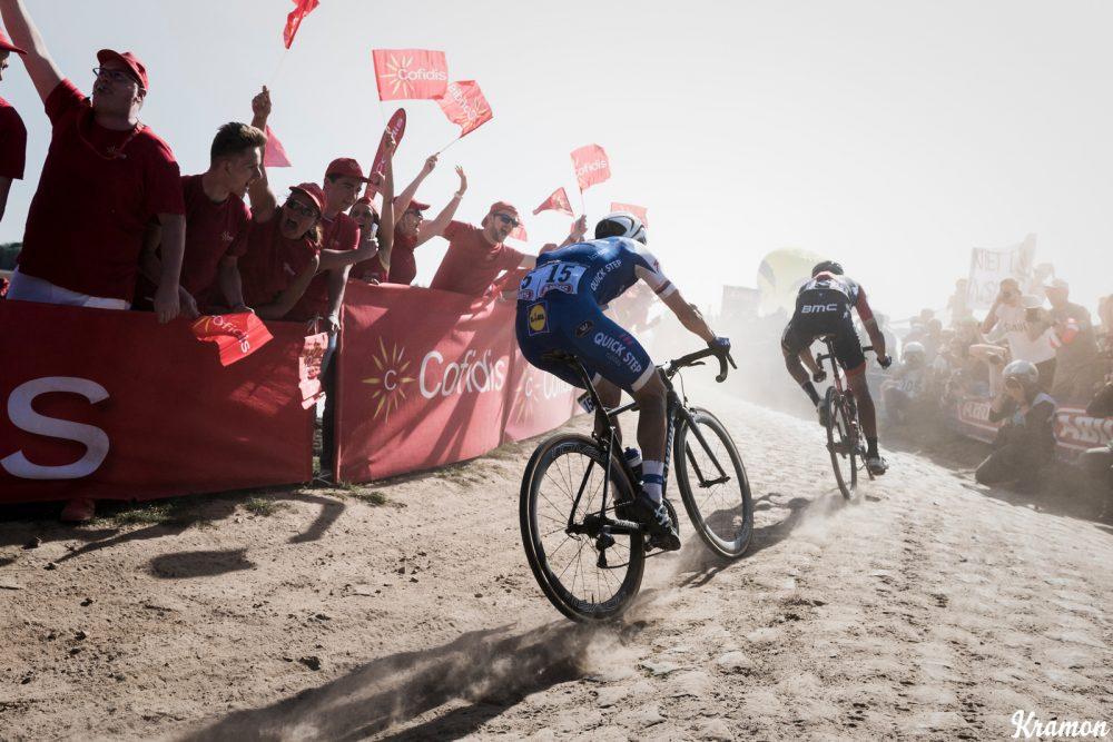 race leaders Greg Van Avermaet (BEL/BMC) & Zdenek Stybar (CZE/Quick Step Floors) at the Carrefour de l'Arbre sector 115th Paris-Roubaix 2017 (1.UWT) One Day Race: Compiègne › Roubaix (257km)